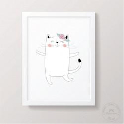 Prinditav seinapilt - Kass, tüdruk