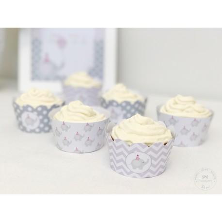 Prinditavad muffiniümbrised - Elevant, roosa